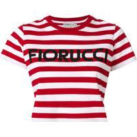 Fiorucci Camiseta Cropped Listrada - Vermelho
