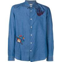 Paul Smith Camisa Jeans Com Bordado - Azul