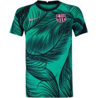 Camisa Pré-Jogo Barcelona 20/21 Nike - Infantil - Verde/Preto