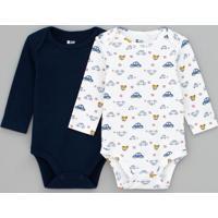 Kit Body Infantil Com Estampa Carros E Liso - Tam 0 A 18 Meses
