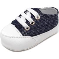 Sapatinho De Bebê Tênis Pititiko Azul E Branco 58