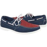 Mocassim Couro Shoes Grand Dockside Masculino - Masculino-Azul+Vermelho