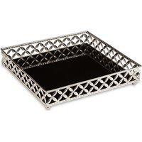 Bandeja Decorativa Quadrada Em Metal Prata Com Espelho Preto 5X25 Cm - D'Rossi