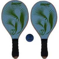 Kit Frescobol 2 Raquetes Impar Sports + 1 Bolinha - Unissex-Verde Claro+Verde