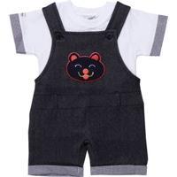 Macacão Jeans Infantil Para Menino Bebê - Azul Marinho
