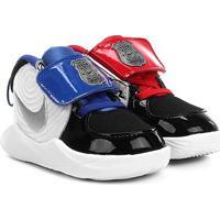 Tênis Infantil Nike Team Hustle D 9 Auto Com Velcro Masculino - Masculino-Preto+Prata