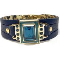 Pulseira Armazem Rr Bijoux Cristal Quadrado Feminina - Feminino-Azul