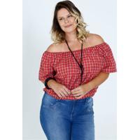 Blusa Feminina Ombro A Ombro Estampa Xadrez Plus Size Marisa