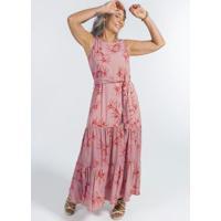 Vestido Longo Sem Manga Com Estampa Floral Rosa