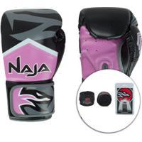 Kit De Boxe Naja: Bandagem + Protetor Bucal + Luvas De Boxe New Extreme - 12 Oz - Adulto - Rosa