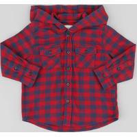 Camisa Infantil Estampada Xadrez Com Capuz Manga Longa Vermelha