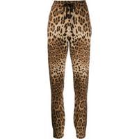 Dolce & Gabbana Calça Esportiva De Cashmere Com Estampa De Leopardo - Marrom
