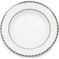 Conjunto 6 Pratos De Porcelana Para Sobremesa Bone China Blue Silver Wolff 20Cm - Alto Relevo