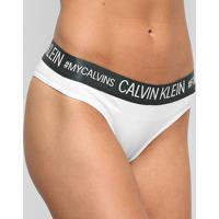 Calcinha Calvin Klein Tanga Reveillon Cotton - Feminino-Branco+Chumbo