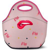 Lancheira Térmica Tritengo Em Neoprene Kiss - Feminino-Rosa Claro