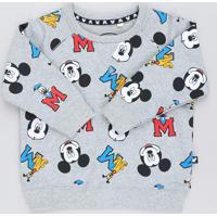 Blusão Infantil Estampado Turma Do Mickey Em Moletom Cinza Mescla
