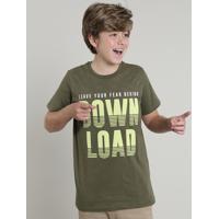 """Camiseta Juvenil """"Download"""" Manga Curta Verde Oliva"""