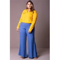 Calça Pregas Azul Plus Size