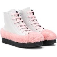 Marni Kids Ankle Boot Com Detalhe De Pele - Cinza