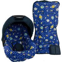 Conjunto Capa De Bebê Conforto E Capa De Carrinho Alan Pierre Baby 0 A 13 Kg - Foguete Azul Marinho