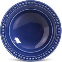 Prato Fundo Atenas Cerâmica 6 Peças Azul Navy Porto Brasil