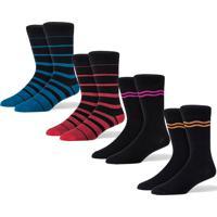 Meias - Kit 4 Iork - Blue Stripe, Red Stripe, Pink & Orange - Coloridas