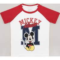 Camiseta Infantil Mickey Raglan Manga Curta Off White