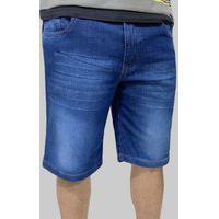 Bermuda Jeans Elastano Masculina Com Bolsos
