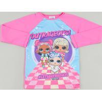 Blusa De Praia Infantil Lol Surprise Raglan Manga Longa Com Proteção Uv50+ Pink