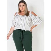 Blusa Ciganinha Plus Size Listrada Com Babados