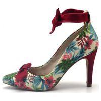 Sapato Feminino Scarpin Salto Alto Fino Em Tecido Floral Branco Lançamento