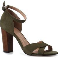 Sandália Couro Shoestock Aline Tiras Cruzadas Salto Fachete Alto Feminina - Feminino-Verde