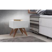 Criado-Mudo Retrô Colorido Branco Design Moderno Vintage Freddie - 46,6X34,1X45,2 Cm