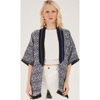 Kimono Texturizado & Geomã©Trico - Azul Escuro & Begepop Up