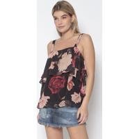 Blusa Floral - Preta & Rosa Claro - Lanã§A Perfumelanã§A Perfume