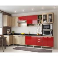 Cozinha Completa Laciara 15 Pt 3 Gv Argila E Vermelho