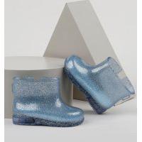Bota Galocha Infantil Baby Club Com Glitter E Luz Azul Claro