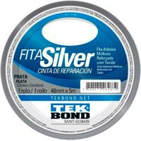 Fita Silver Adesiva Multiuso Reforçada Com Tecido Tekbond Cor Prata 48Mm X 5Mm