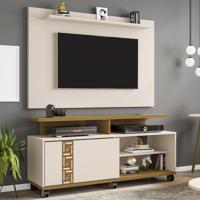 Rack Com Painel Para Tv Até 50 Polegadas Topázio Off-White/Cinamomo - Móveis Bechara