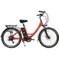 Bicicleta Elétrica Bio Bike , Quadro Em Alumínio, Modelo Style Vermelha