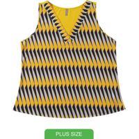Blusa Com Estampa Geométrica Amarelo