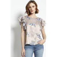 Blusa Floral Acetinada- Bege & Azulenna