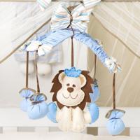Móbile Menino Leão Majestoso Azul Grão De Gente Azul