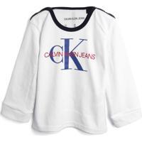 Blusa Calvin Klein Kids Menina Escrita Branca