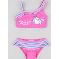 Biquíni Infantil Unicórnio Com Babado Proteção Uv50+ Pink