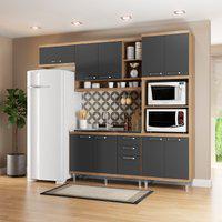 Cozinha Compacta Multimóveis 5828 Sicília 4 Peças Argila E Grafite
