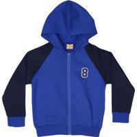 Jaqueta Em Moletom Com Capuz- Azul Escuro & Azul Marinhomineral Kids