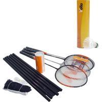 Kit De Badminton Vollo 4 Raquetes Com 9 Petecas Em Nylon - Unissex