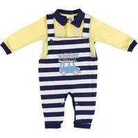 Macacão Infantil Para Bebê Menino - Amarelo