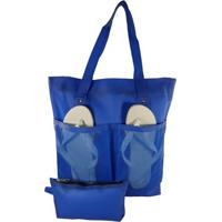 Bolsa De Praia Feminina Impermeável Com Bolsos Azul